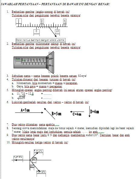 Soal Fisika Ujian Tengah Semester Gasal Fisika Man Baureno